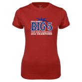 Ladies Syntrel Performance Cardinal Tee-Big 5 Champions 2019