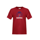 Youth Cardinal T Shirt-Penn Basketball Stacked w/ Ball