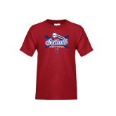 Youth Cardinal T Shirt-Softball w/ Crossed Bats