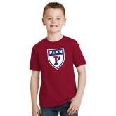 Youth Cardinal T Shirt-PENN Shield
