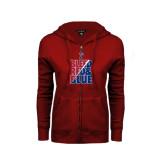 ENZA Ladies Cardinal Fleece Full Zip Hoodie-Bleed Red & Blue