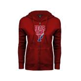 ENZA Ladies Cardinal Fleece Full Zip Hoodie-Fear The P