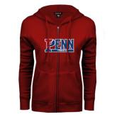 ENZA Ladies Cardinal Fleece Full Zip Hoodie-Penn Gymnastics