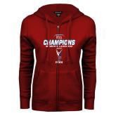 ENZA Ladies Cardinal Fleece Full Zip Hoodie-2017 Ivy League Womens Lacrosse Champions