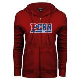 ENZA Ladies Cardinal Fleece Full Zip Hoodie-Penn Sprint Band