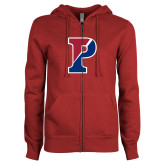 ENZA Ladies Cardinal Fleece Full Zip Hoodie-Split P