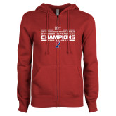 ENZA Ladies Cardinal Fleece Full Zip Hoodie-2018 Womens Track and Field Champions