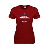 Ladies Cardinal T Shirt-Pennsylvania Baseball Seams