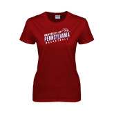 Ladies Cardinal T Shirt-Pennsylvania Basketball Slanted