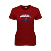 Ladies Cardinal T Shirt-Pennsylvania Basketball in Ball