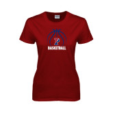 Ladies Cardinal T Shirt-Penn Basketball Stacked w/ Ball