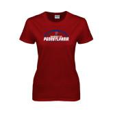 Ladies Cardinal T Shirt-Penn Football Horizontal