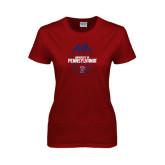 Ladies Cardinal T Shirt-Penn Football Vertical