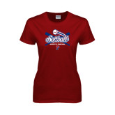Ladies Cardinal T Shirt-Softball w/ Crossed Bats