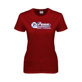 Ladies Cardinal T Shirt-Penn Softball Script