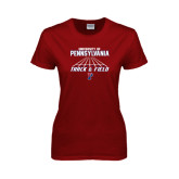 Ladies Cardinal T Shirt-Track & Field Lanes