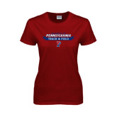Ladies Cardinal T Shirt-Pennsylvania Track & Field Banner