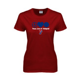 Ladies Cardinal T Shirt-Peace Love & Volleyball