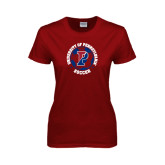 Ladies Cardinal T Shirt-Soccer Circle