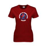 Ladies Cardinal T Shirt-Soccer Circle