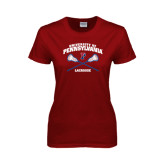 Ladies Cardinal T Shirt-Lacrosse w/ Crossed Sticks