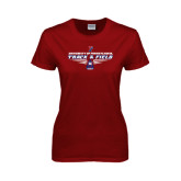 Ladies Cardinal T Shirt-Track & Field Front View Shoe