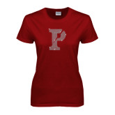 Ladies Cardinal T Shirt-Split P Rhinestones