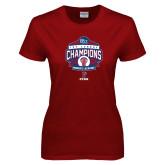 Ladies Cardinal T Shirt-2017 Ivy League Womens Lacrosse Champions