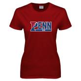 Ladies Cardinal T Shirt-Penn Sprint Band