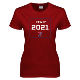 Ladies Cardinal T Shirt-Penn 2021 Square