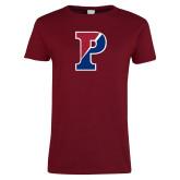 Ladies Cardinal T Shirt-Split P Distressed