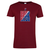 Ladies Cardinal T Shirt-Bleed Red & Blue