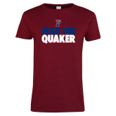 Ladies Cardinal T Shirt-Fear The Quaker