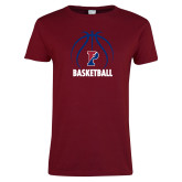 Ladies Cardinal T Shirt-Penn Basketball Under Ball