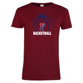 Ladies Cardinal T Shirt-Penn Basketball Under Ball
