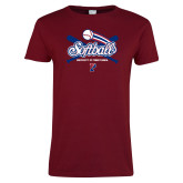 Ladies Cardinal T Shirt-Penn Softball Crossed Bats