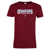 Ladies Cardinal T Shirt-Quakers Track and Field