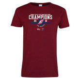 Ladies Cardinal T Shirt-2019 Womens Track and Field Champions