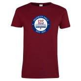 Ladies Cardinal T Shirt-Franklin Field 125 Logo