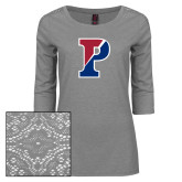 Ladies Grey Heather Lace 3/4 Sleeve Tee-Split P
