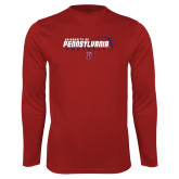 Performance Cardinal Longsleeve Shirt-Penn Football Flat