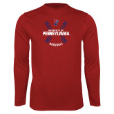 Performance Cardinal Longsleeve Shirt-Pennsylvania Baseball Seams