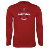 Syntrel Performance Cardinal Longsleeve Shirt-Pennsylvania Baseball Seams