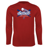 Performance Cardinal Longsleeve Shirt-Penn Softball Crossed Bats