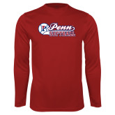 Performance Cardinal Longsleeve Shirt-Penn Softball Script