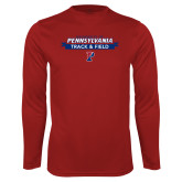 Performance Cardinal Longsleeve Shirt-Pennsylvania Track and Field Banner