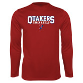 Performance Cardinal Longsleeve Shirt-Quakers Track and Field