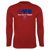 Performance Cardinal Longsleeve Shirt-Peace Love & Volleyball