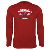 Performance Cardinal Longsleeve Shirt-Pennsylvania Lacrosse Crossed Sticks