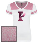 Ladies White/Heathered Pink Juniors Varsity V Neck Tee-Split P Foil